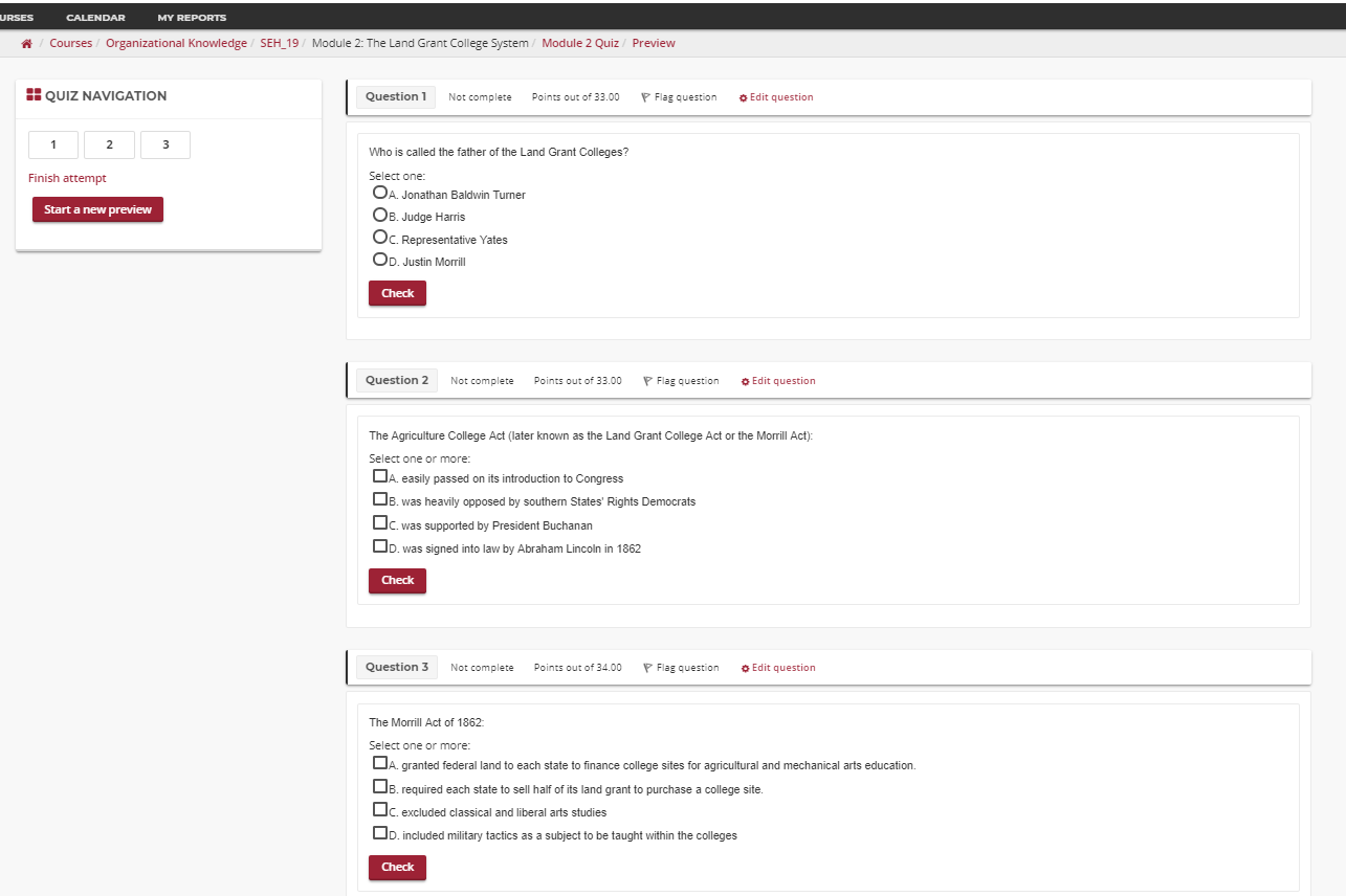 screen shot of quiz page