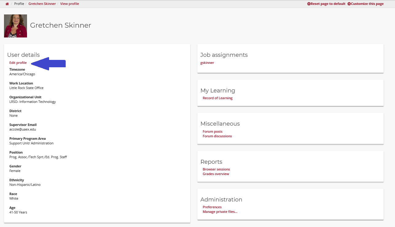 screen shot of profile page