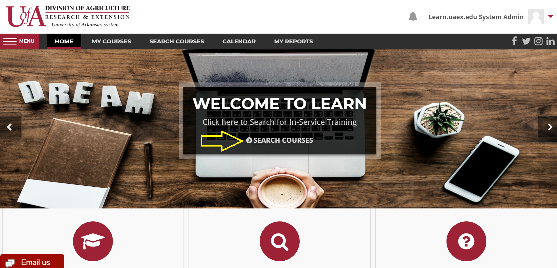 screen shot of Learn home page with yellow arrow